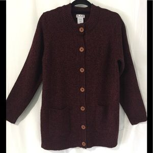 Blair Button Up Sweater Sz Lg Maroon/black tweed